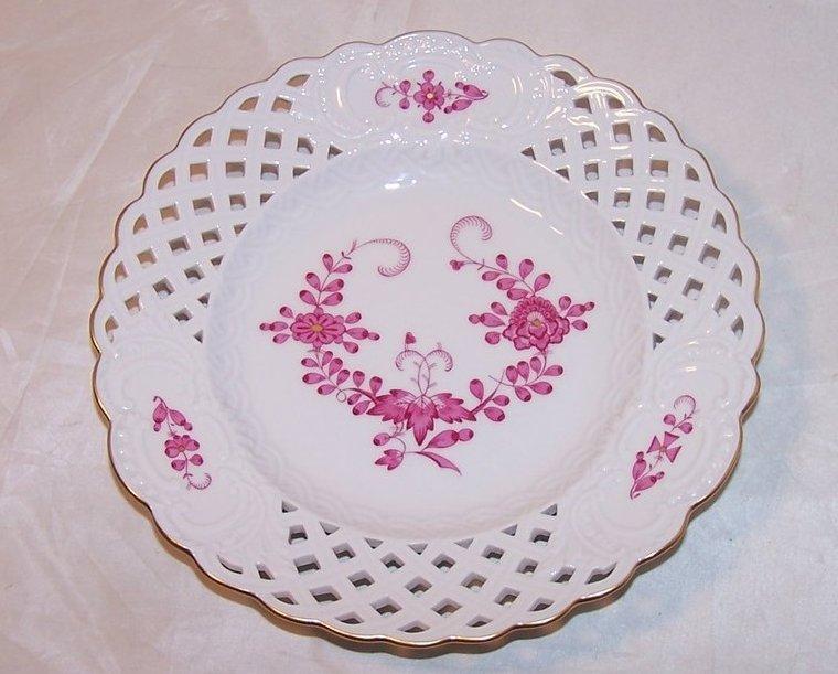 Pierced Pink Flower Salad Plate, Meissen, Germany