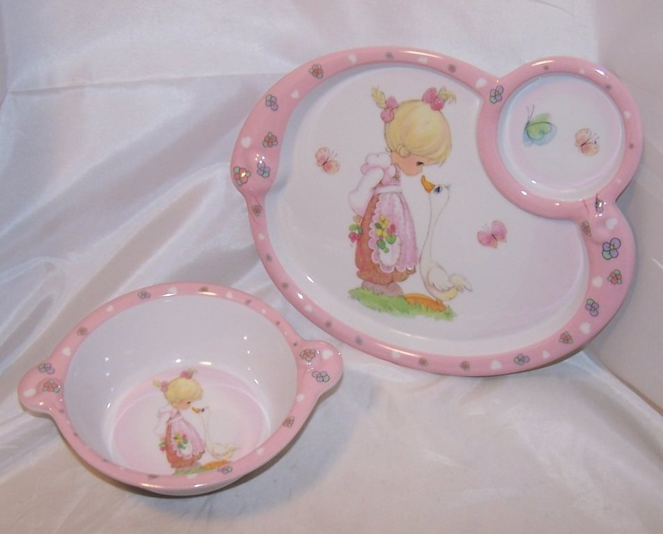 Little Girl and Goose, Child Plastic Plate, Bowl, Luv N Care