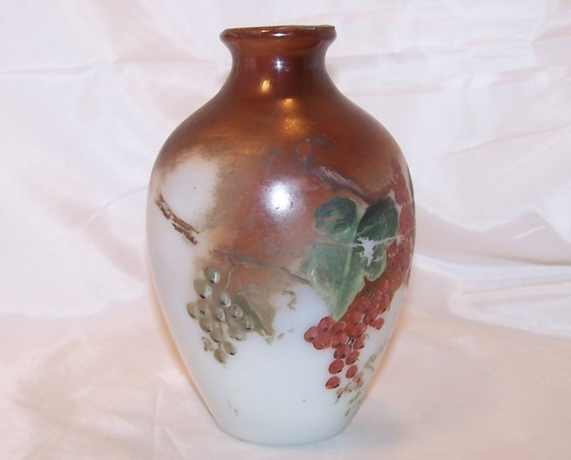 Hand Painted Milk Glass Vase, Bristol, England, 1800s