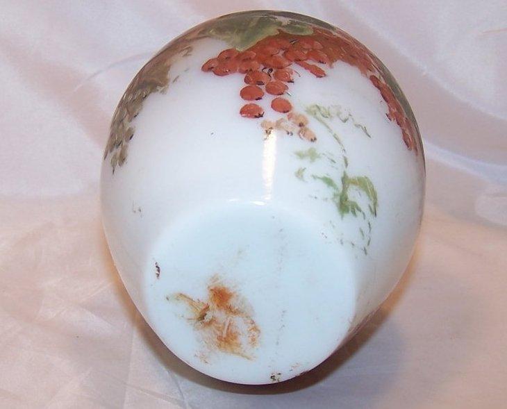 Image 5 of Hand Painted Milk Glass Vase, Bristol, England, 1800s