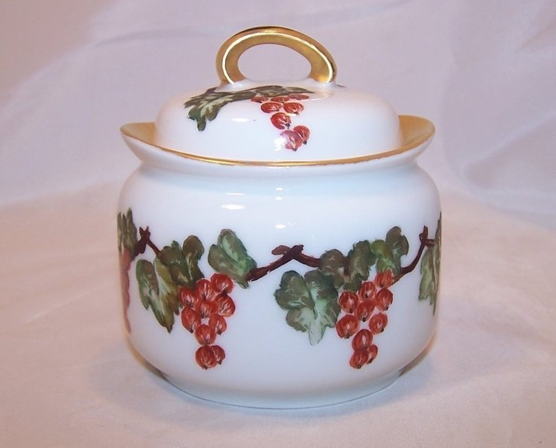 Hand Painted Porcelain Lidded Sugar Bowl, RS Germany