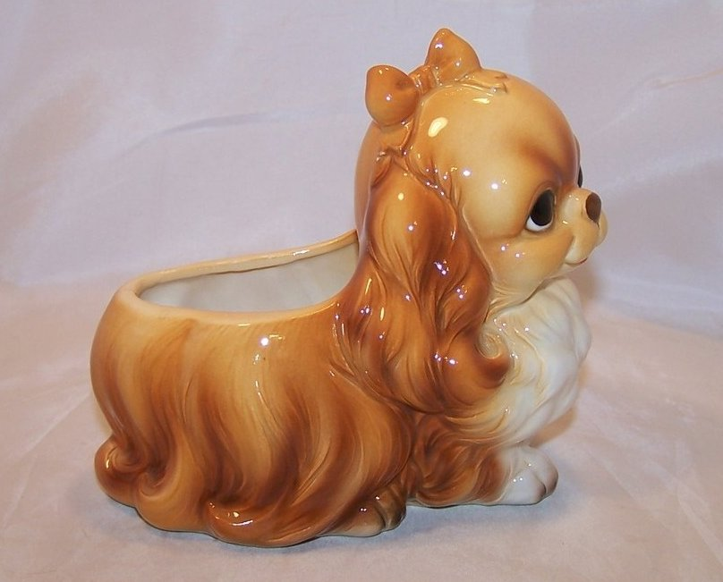 Image 3 of Perky Pekingese Puppy, Dog Planter, Napcoware