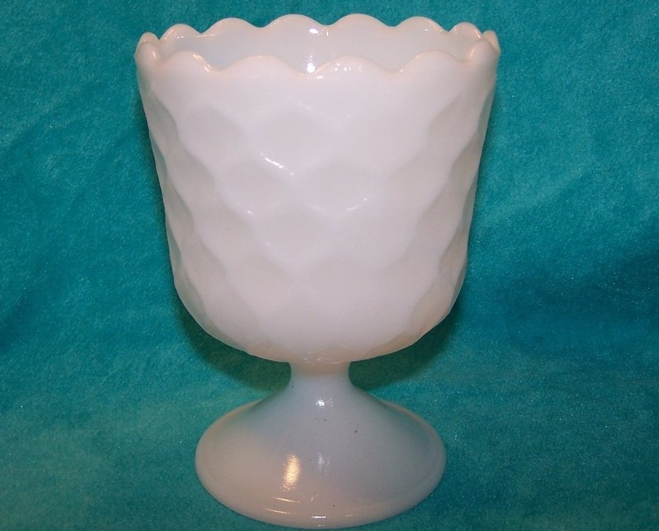 Image 0 of Honeycomb Milk Glass Compote, EO Brody Co.