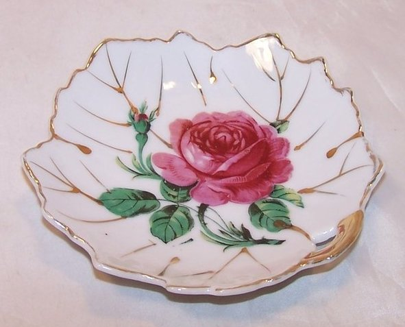 Leaf Shaped Bowl w Pink Rose, Gold Accents, Japan Japanese