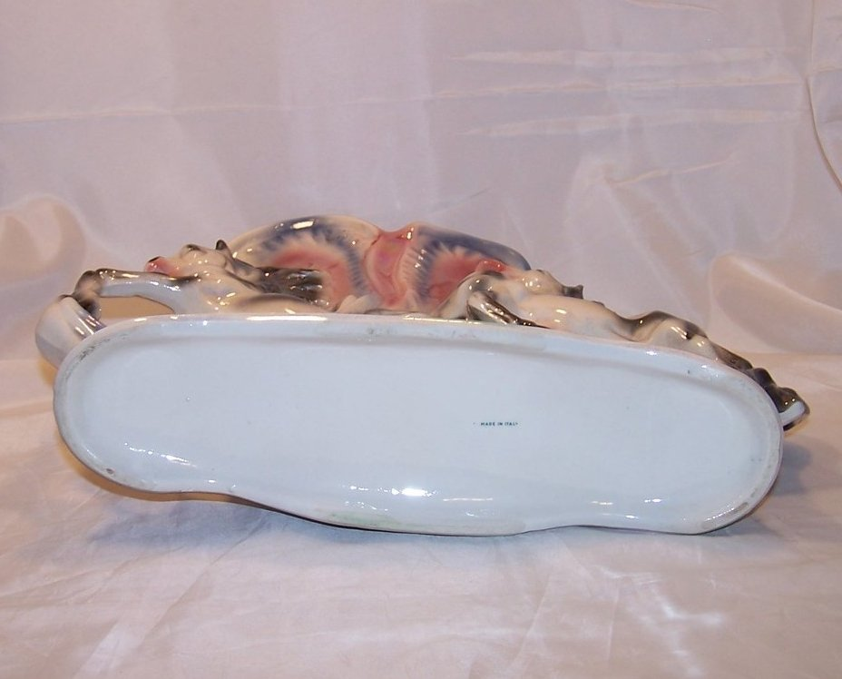 Image 4 of Large Opalescent Ornate Double Horse Vase, Italy