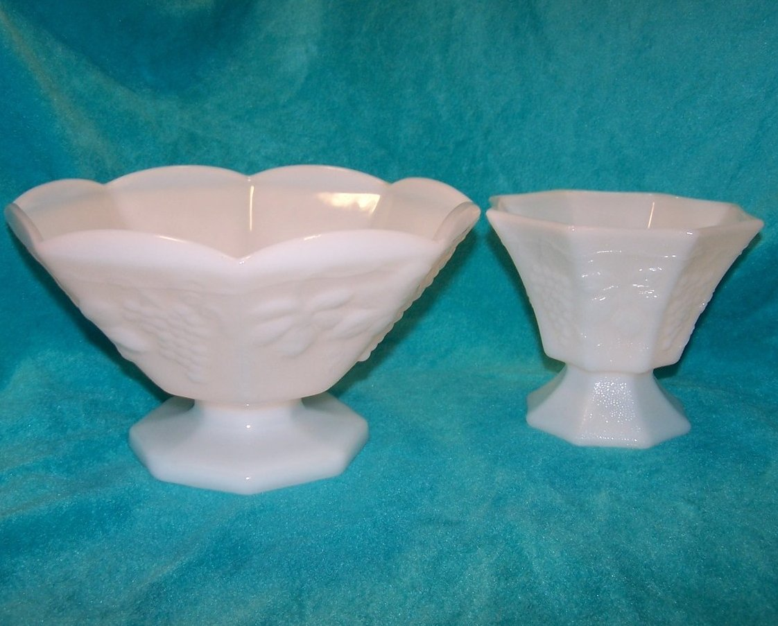 Grape and leaf pattern milk glass bowl compote piece set