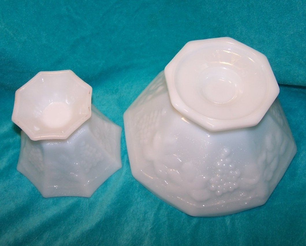 Image 4 of Grape and Leaf Pattern Milk Glass Bowl, Compote, 2 Piece Set