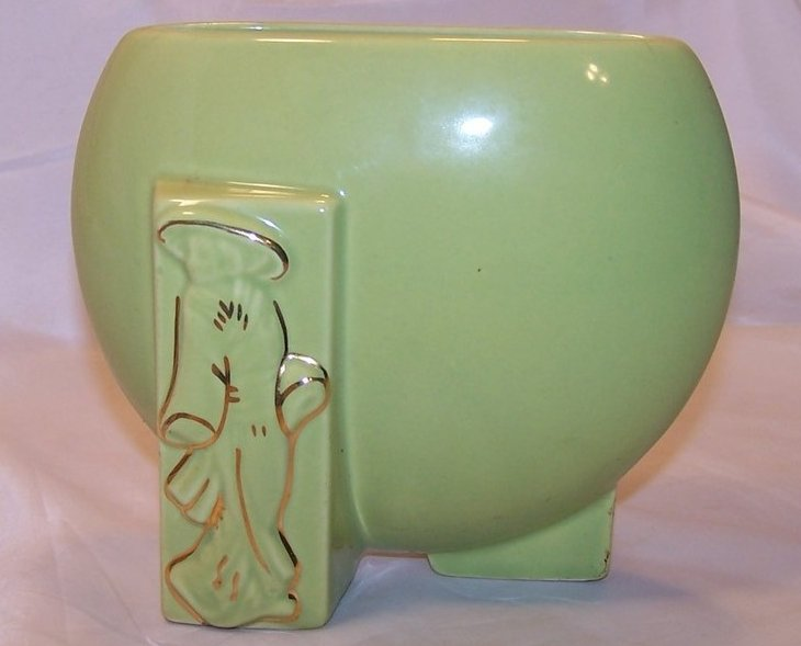 Green and Gold Oriental Flat Vase, Ceramic, Vintage