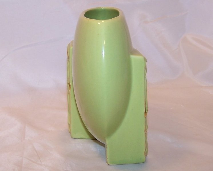 Image 1 of Green and Gold Oriental Flat Vase, Ceramic, Vintage