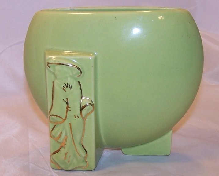 Image 2 of Green and Gold Oriental Flat Vase, Ceramic, Vintage