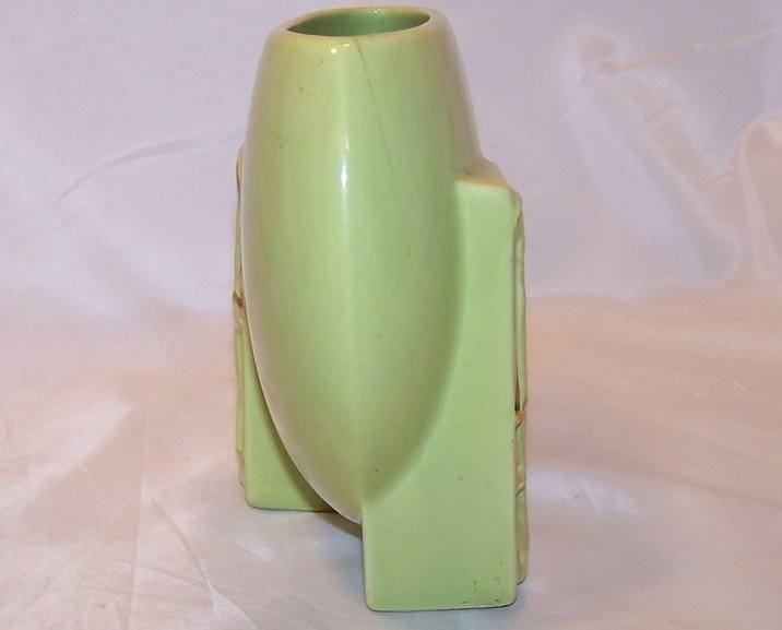 Image 3 of Green and Gold Oriental Flat Vase, Ceramic, Vintage