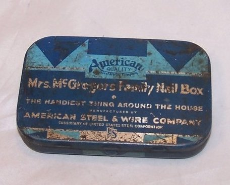 Mrs McGregors Family Nail Tin Box, American Steel and Wire