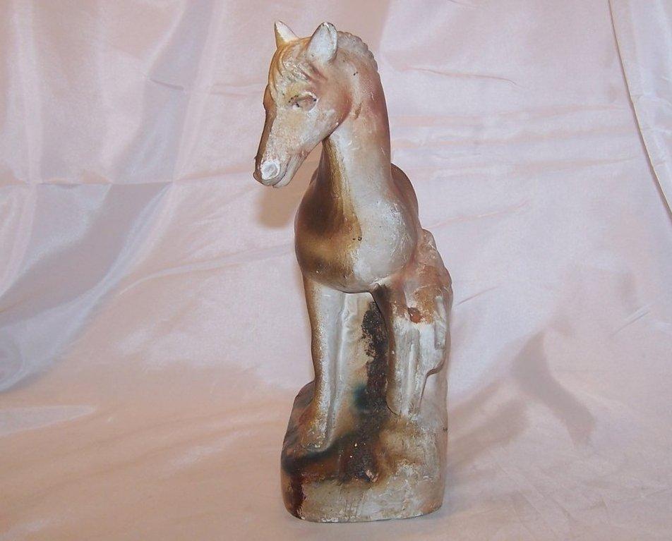 Image 1 of Chalkware Prancing Horse, Chalk Ware Figurine