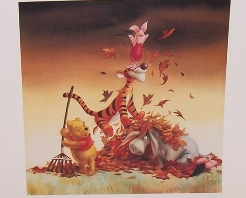 Fall Leaves, Winnie the Pooh Matted Print, Walt Disney Co