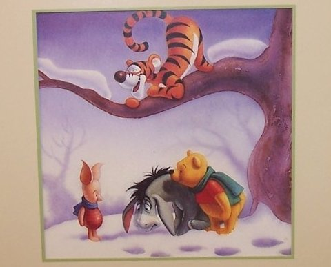 Snow Prints, Winnie the Pooh Matted Print, Walt Disney Co