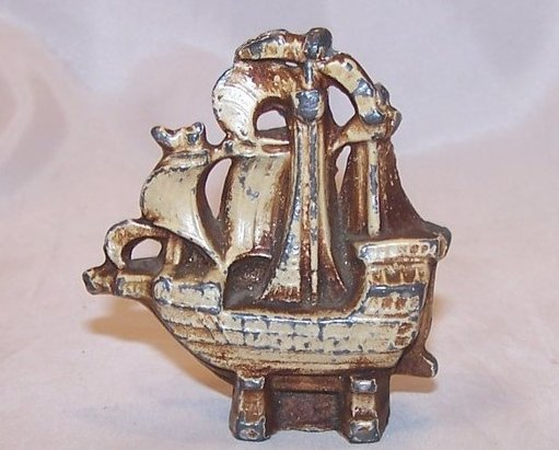 Tall Sailing Ship in Dry Dock Miniature Figurine, Vintage
