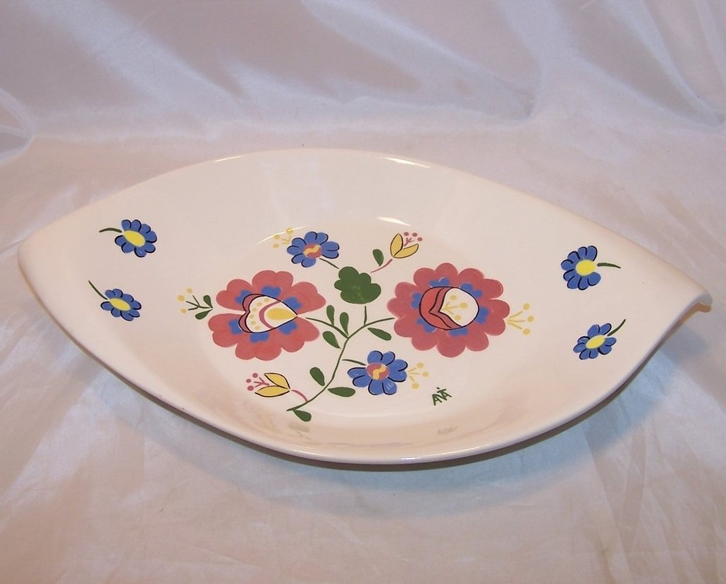 Hungarian Folk Art Serving Bowl, Signed, Hungary