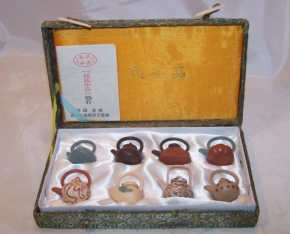 Miniature Teapot Collection in Brocade Box, China