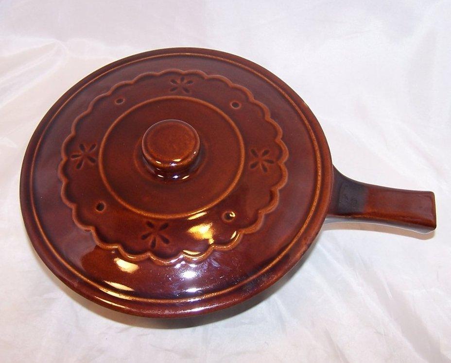 Mar-Crest Bean Pot w Lid, Brownware Stoneware