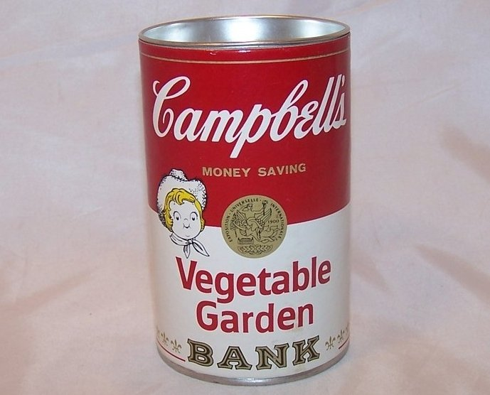 Campbells Soup Can Bank w Seeds, 1977 Promo