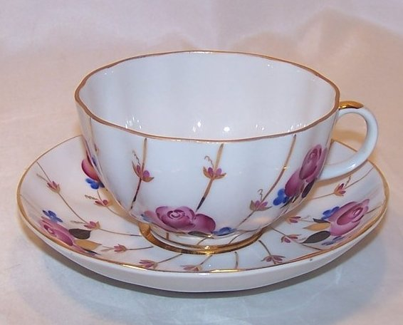 Rose, Forget Me Not, Lomonosov USSR Teacup, Saucer, Russia