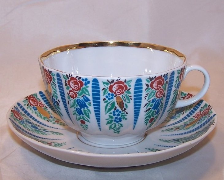 Lomonosov Flowers, Floral USSR Teacup, Saucer, Russia