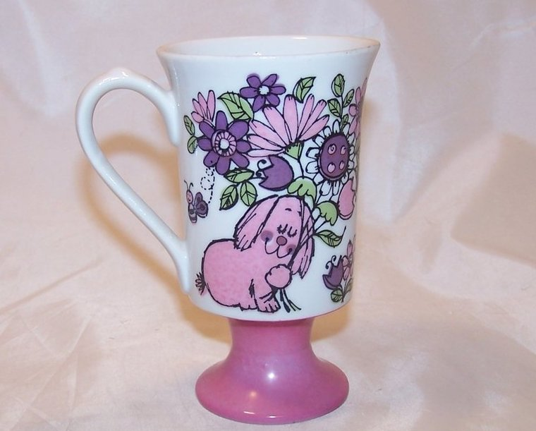 Pia Pink Bunny and Bee w Flowers, Footed Mug, Cup, Seventies