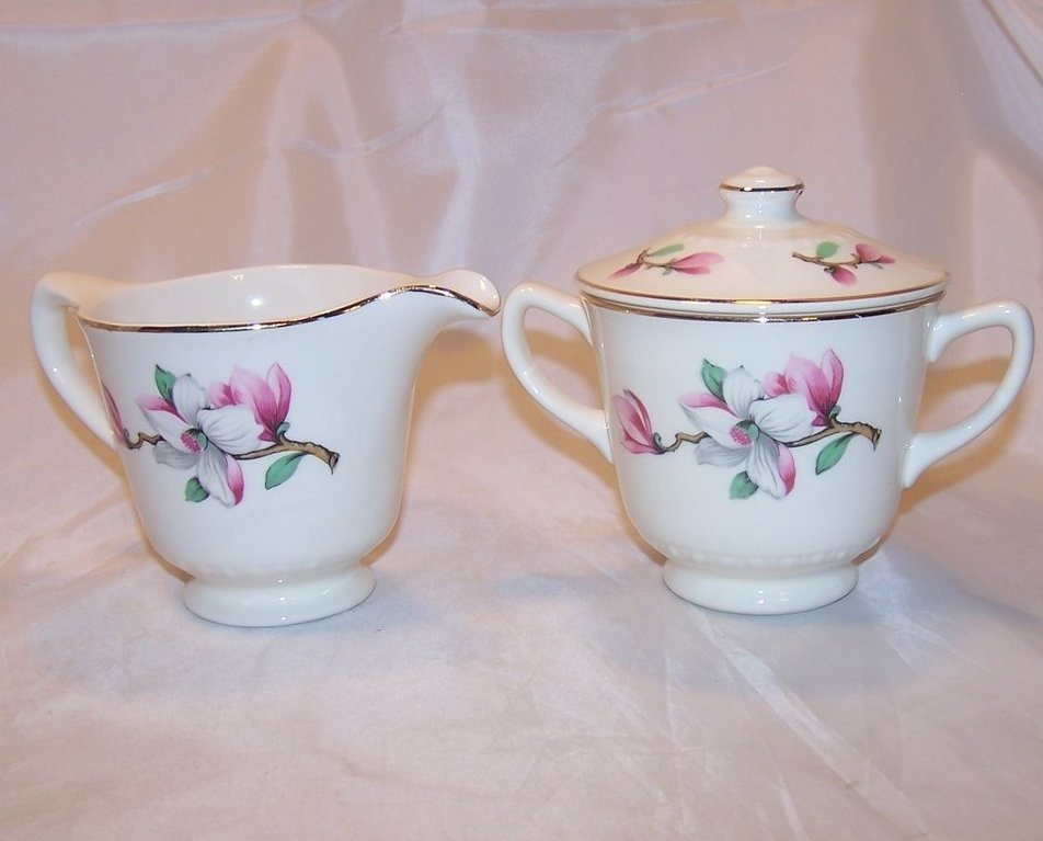 Apple Blossom Flower Creamer and Sugar, Homer Laughlin