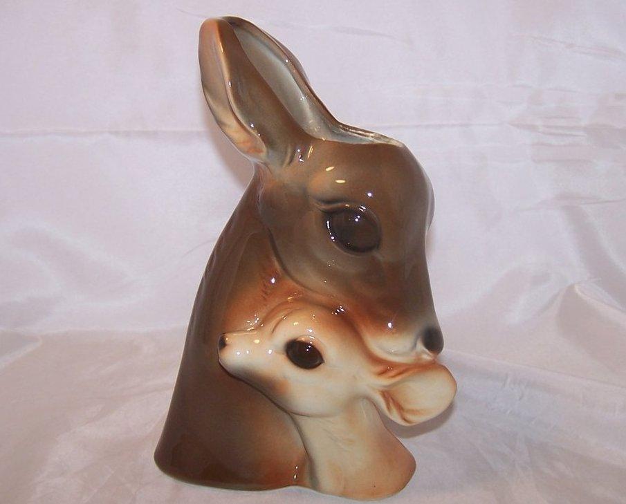 Image 1 of Royal Copley Deer Doe, Fawn Head Planter Vase, No Cracks