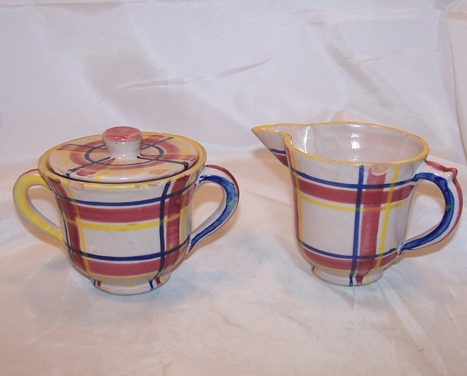 Rubicon Creamer, Sugar Bowl w Lid, Handmade, Rare, Italy