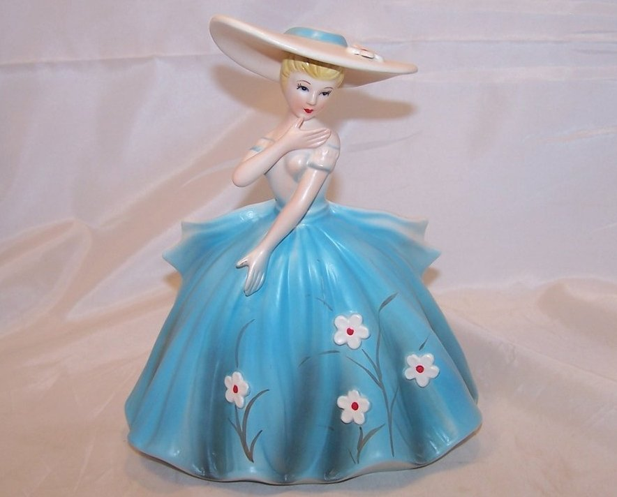 Elegant Lady in Blue Dress Planter, Samson Import Co, 1962