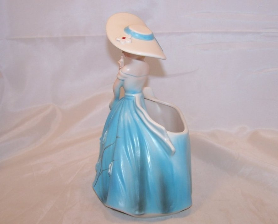 Image 1 of Elegant Lady in Blue Dress Planter, Samson Import Co, 1962