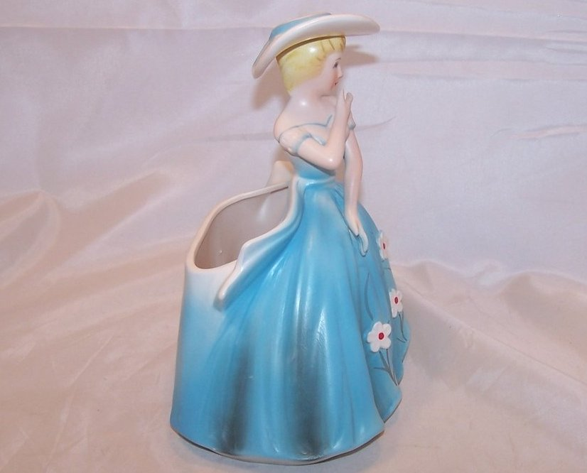 Image 4 of Elegant Lady in Blue Dress Planter, Samson Import Co, 1962