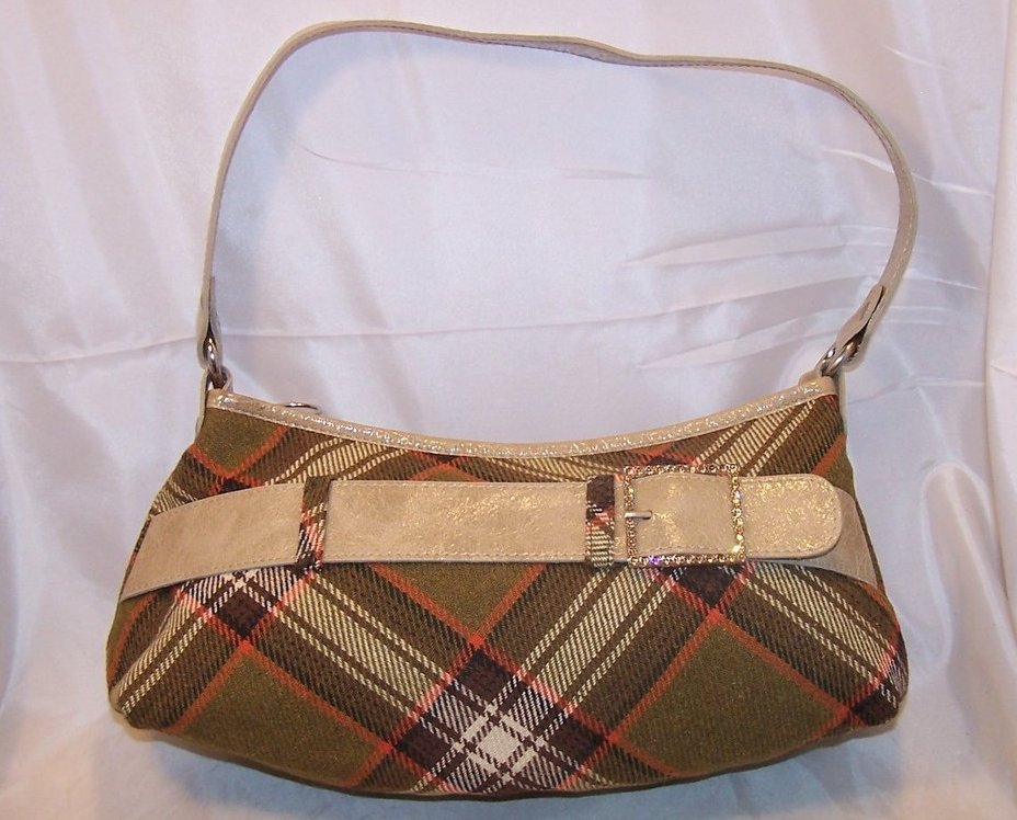 Mussio DeGroot Plaid Purse, Handbag, Rhinestone Buckle