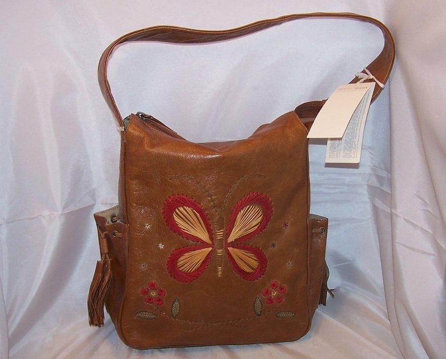 Francesco Biasia Embroidered Leather Purse, Handbag, New
