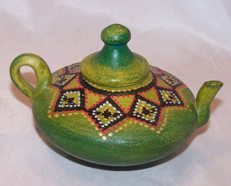 Decorative Patterned, Hand Painted Teapot, Artist Signed