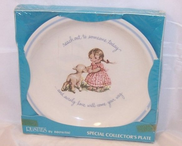 Rusties Brownie Plate England Reach Out...Love Will Come, NIB