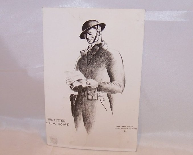 The Letter From Home, WW II Marshall Davis Postcard, Unused