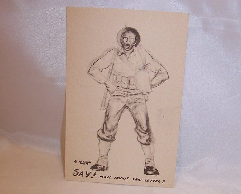Say, How About That Letter, WW II Marshall Davis Postcard, Unused