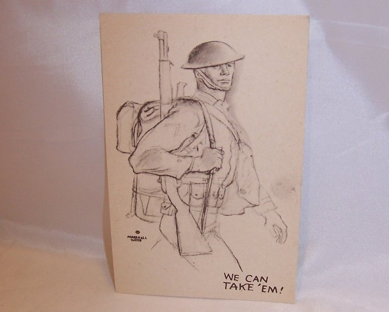 We Can Take Em, WW II Marshall Davis Postcard, Unused