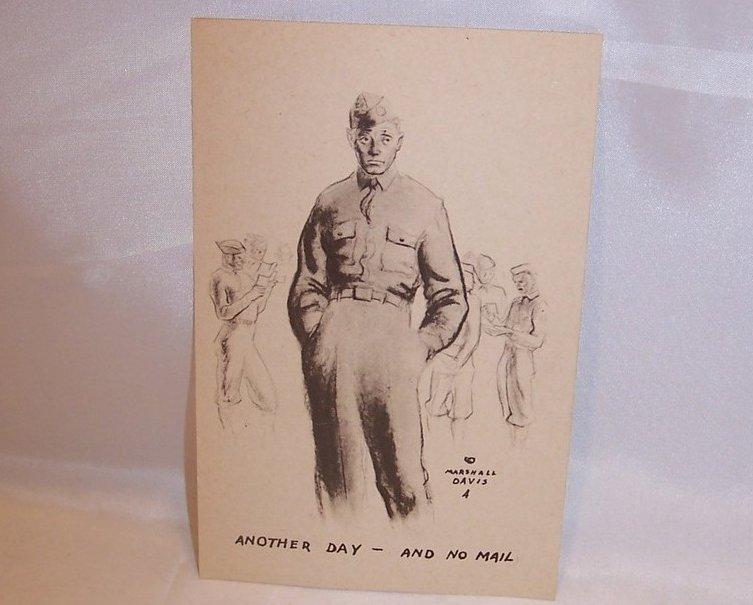 Another Day and No Mail, WWII Marshall Davis Unused Postcard