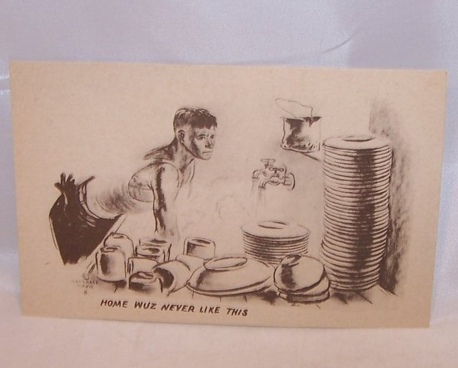 Home Wuz Never Like This, WWII Marshall Davis Unused Postcard