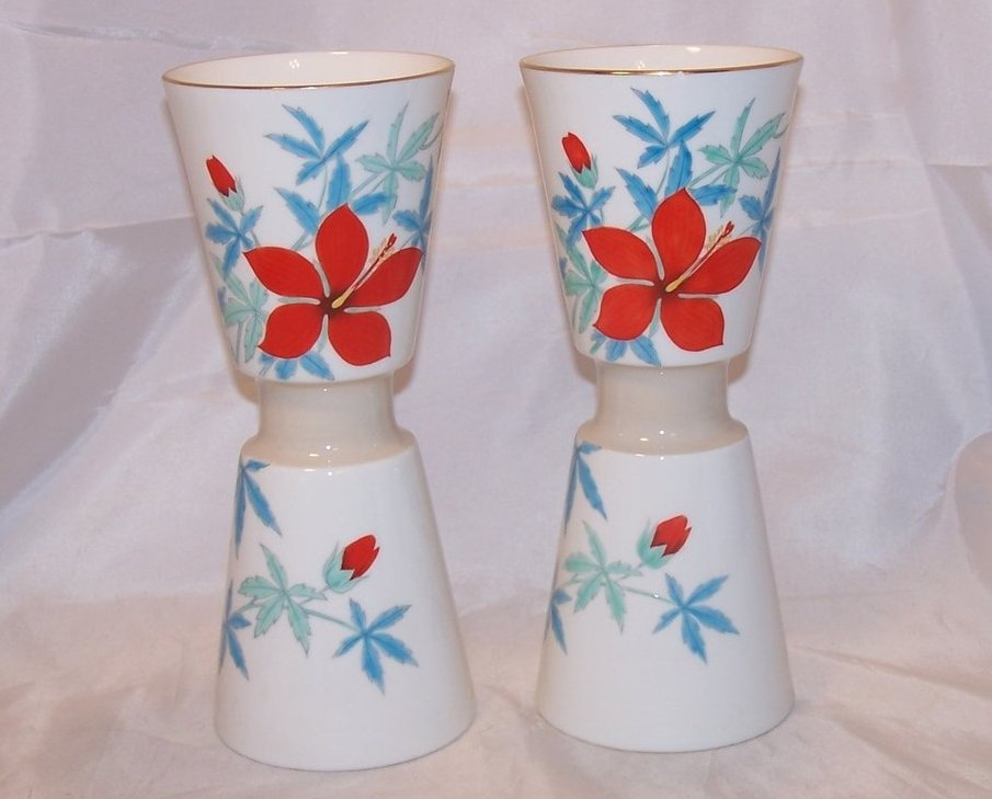 Nippon Toki Kaisha Red Flower Vase Set, Noritake Japan