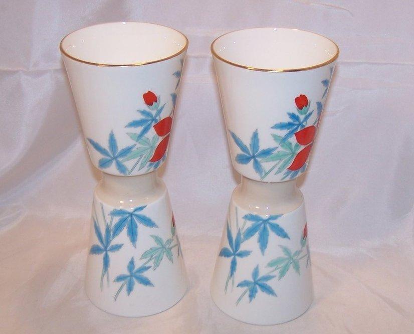 Image 2 of Nippon Toki Kaisha Red Flower Vase Set, Noritake Japan