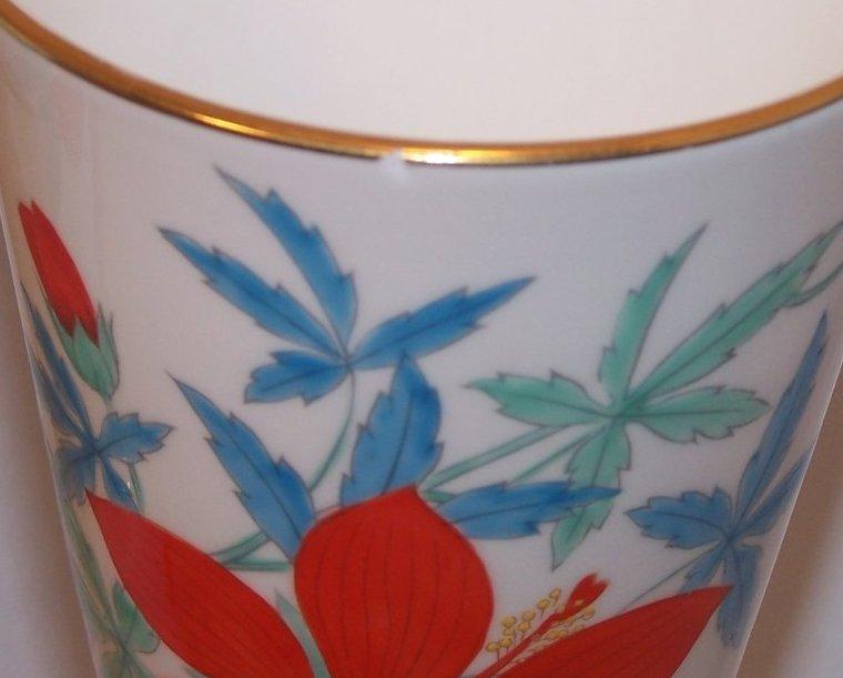 Image 4 of Nippon Toki Kaisha Red Flower Vase Set, Noritake Japan