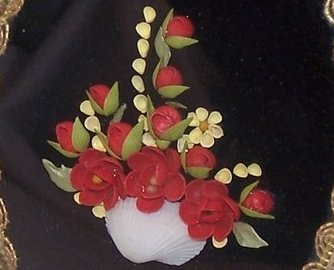 Seashell Roses Buttercup Picture Hand Painted