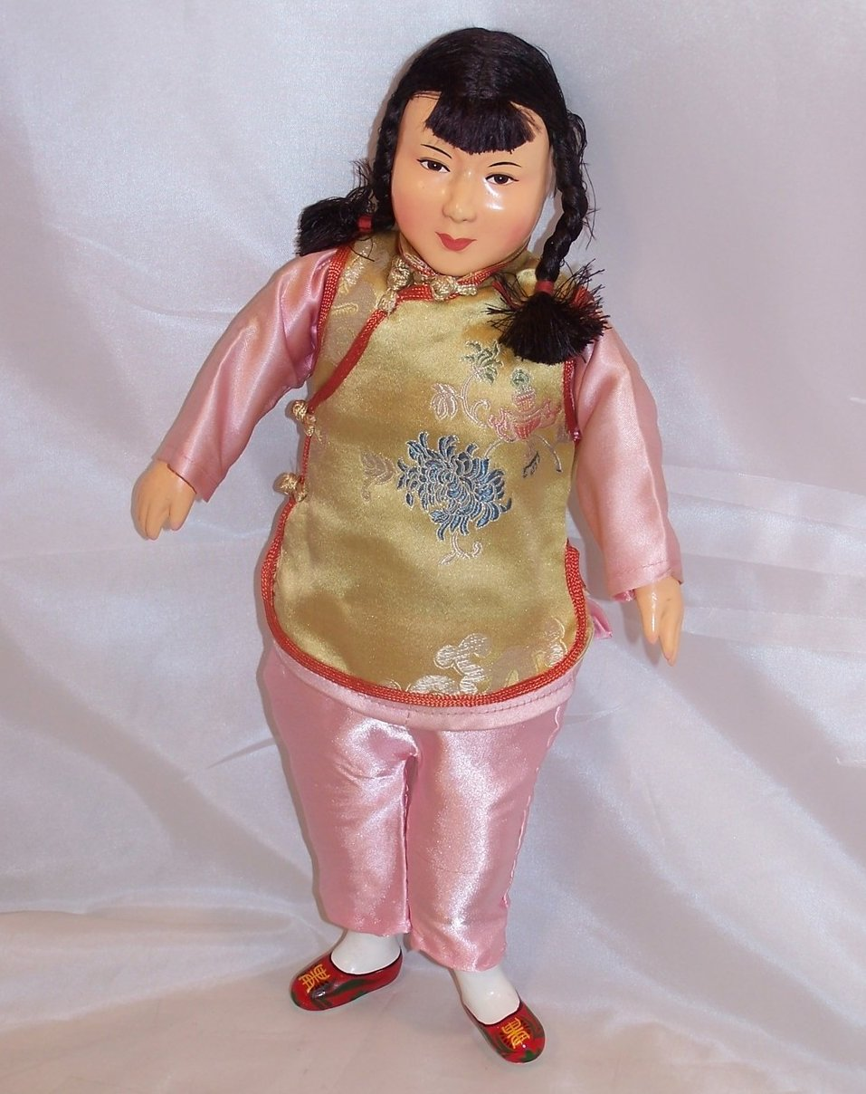 Oriental Doll, Wood and Cloth, Hand Painted, Classic