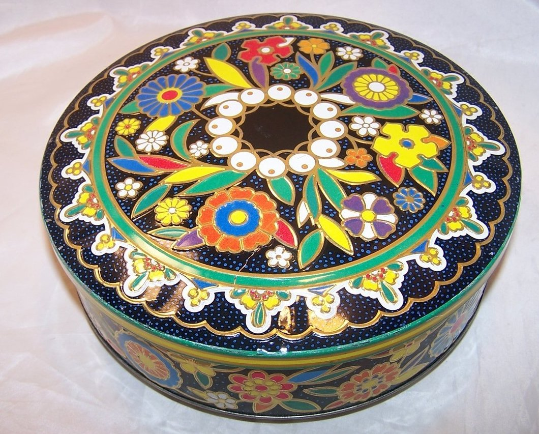 Flower Tin, Bright, Colorful Round Lidded, England