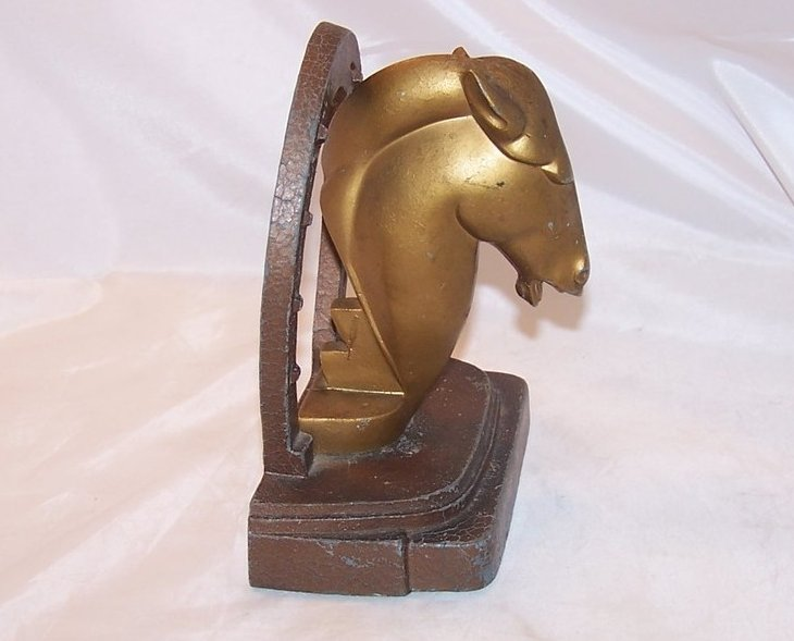 Image 2 of Bookend Art Deco Horse, Brass Finish, Nuart