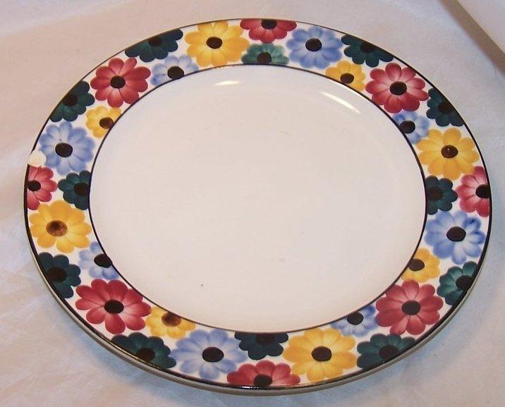 Ges Gesch Multicolor Flower Border Plates, Vintage Germany